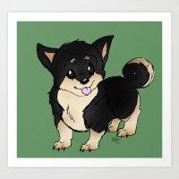 shiba inu Art Prints featuring Shiba Inu by eddiesketti