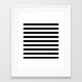 Midnight Black and White Stripes Framed Art Print