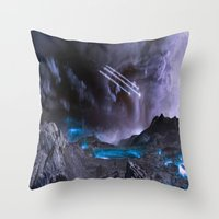 planet of the apes Throw Pillows featuring Extraterrestrial Landscape : Galaxy Planet by 2sweet4words Designs
