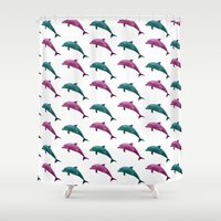 dolphins Shower Curtains featuring Dolphins by ACIDWINZIP