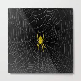 Digital Spider Web with Yellow Spider Metal Print