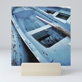 Blue Painted Rustic Wooden Fishing Boats Mini Art Print