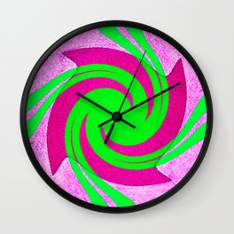 Colorful red, pink and green spiral swirling elliptical constellation star galaxy abstract design Wall Clock