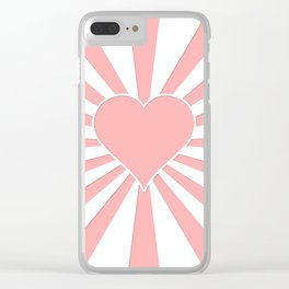 Pink Coral Valentine Love Heart Explosion Clear iPhone Case