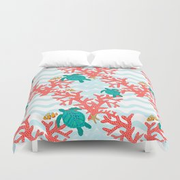 Clowning Around With Sea Turtles on The Reef Duvet Cover