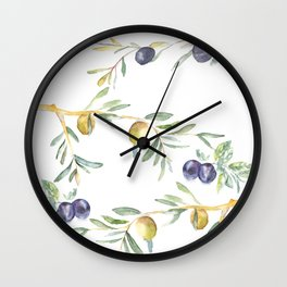 Olive Tree Branches and Black and Green Olives Wall Clock