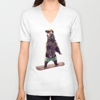 snowboarding V-neck T-shirts featuring Board by Seaside Spirit
