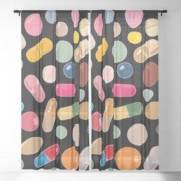 Unicorn Vitamins Sheer Curtain