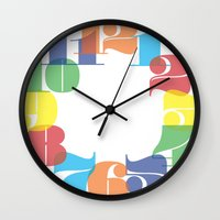 wall clock Wall Clocks featuring Wall Clock - Colourful Numbers by Whistle&Hum