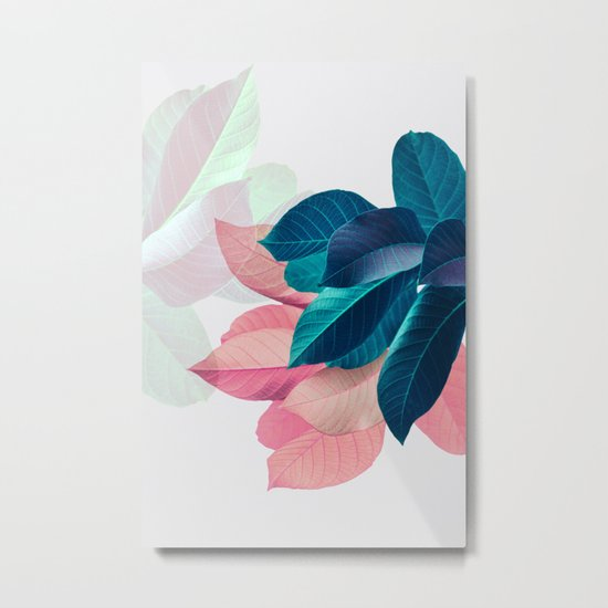 Pink and Blue Leaf Metal Print