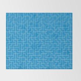 White Tetris Pattern on Blue Throw Blanket
