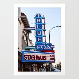 Blue Fox Movie Theatre Art Print