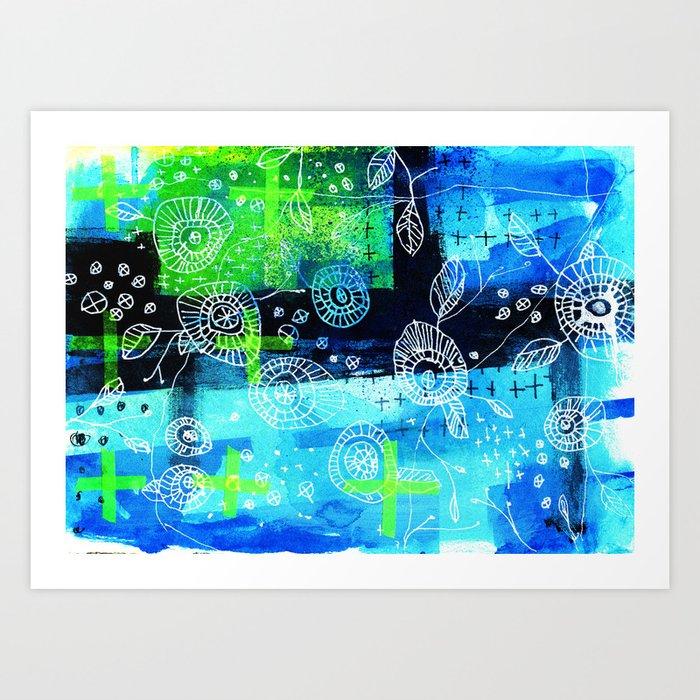 Blooms + Crosses Art Print
