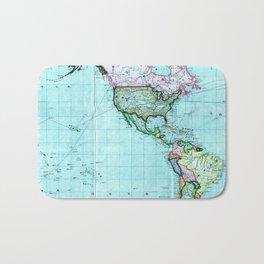 Turquoise Map Pattern Bath Mat