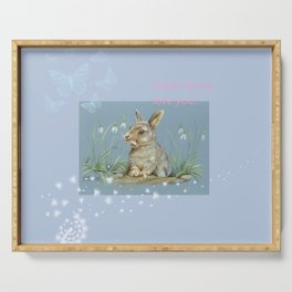Little Spring Rabbit & Quote Serving Tray