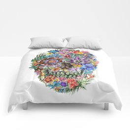 tropical floral skull 4 Comforters