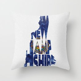 New Hampshire Typographic Flag Map Art Throw Pillow