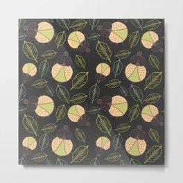 Little funny tick bug and leafs seamless pattern - dark Metal Print