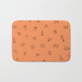 Orange Monster Pattern Bath Mat