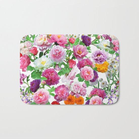 Seamless Nature Flowers Pattern Bath Mat
