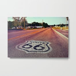 U.S. Route 66 highway, with sign on asphalt on Missouri. Metal Print