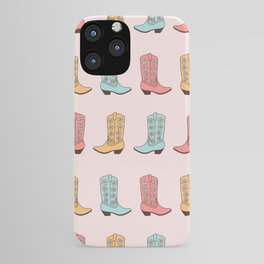 Western Cowgirl Vintage Boots with Daisies in Pastel Pink, Blush, Mint and Yellow Retro Boot Pattern iPhone Case