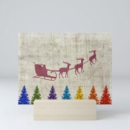 Santa's Sleigh and Colorful Trees Mini Art Print