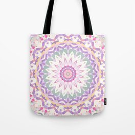 Calypso Mandala in Pastel Pink, Purple, Green, and White Tote Bag