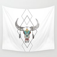 courage Wall Tapestries featuring Indian Courage by Julia Renee