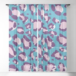 Pink/Purple/Blue Leopard Sheer Curtain