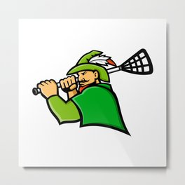 Archer Lacrosse Sport Mascot Metal Print