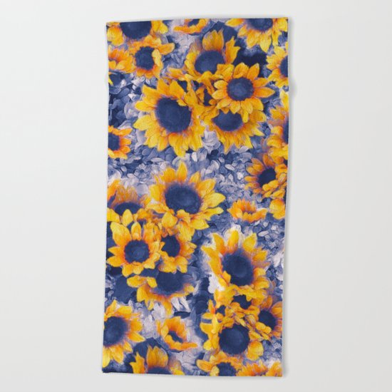 Sunflowers Blue Beach Towel