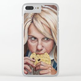 Eleven eats an Eggo - Stranger Painting Things Clear iPhone Case