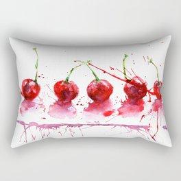 Bright cherry. Hand drawn watercolor illustration. Watercolor berries. Rectangular Pillow