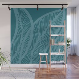 Teal Banana Leaf Wall Mural
