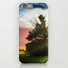 Lonely tree at sunset iPhone Case