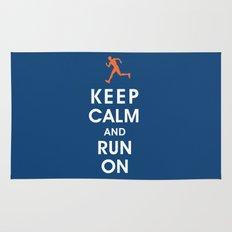 Keep Calm and Run On (male runner) Rug
