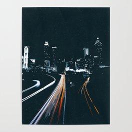 Atlanta Georgie Skyline at Night Poster