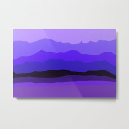 Abstract Mountains and Hills in Blue Metal Print
