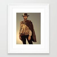 clint eastwood Framed Art Prints featuring Clint Eastwood by Thousand Lines Ink