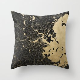 Boston Gold and Black Invert Throw Pillow