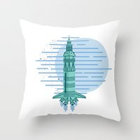 rocket Throw Pillows featuring Rocket by Emma Winton