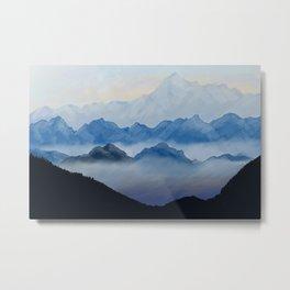 Misty mountains digital illustration landscape Metal Print