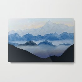 Misty mountains digital illustration landscape Metal Print