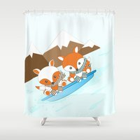 skiing Shower Curtains featuring Skiing by HK Chik