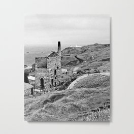 Levant Tin Mine Black And White Metal Print