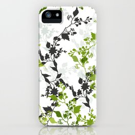 Branches and Leaves in Cobalt Grey and Green iPhone Case