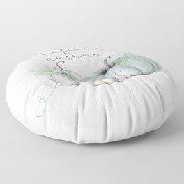 welcome autumn blue pumpkin Floor Pillow