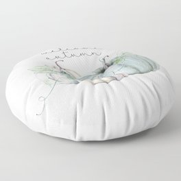 welcome autumn blue pumpkin Floor Pillow
