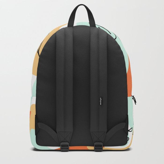 Terra Cotta and Teal Geometry Backpack